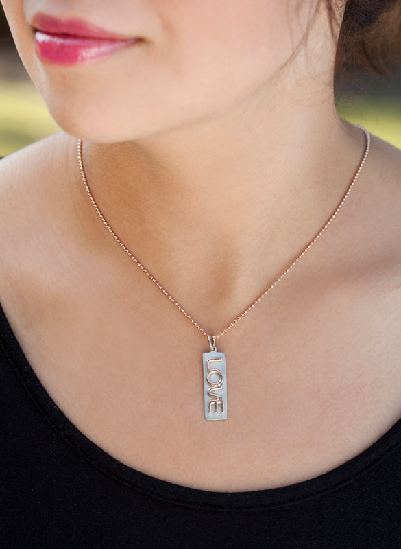 Thin Bar Pendant 14kt White Gold with 14kt Pink Gold LOVE