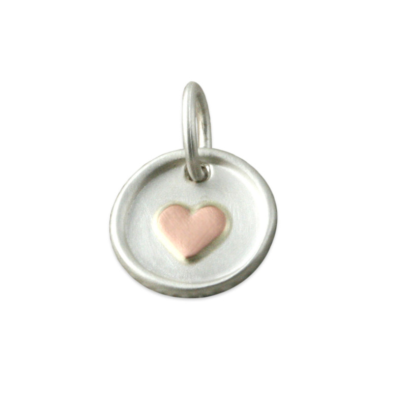 Tiny Disc Silver with Raised 14kt Pink Gold Heart