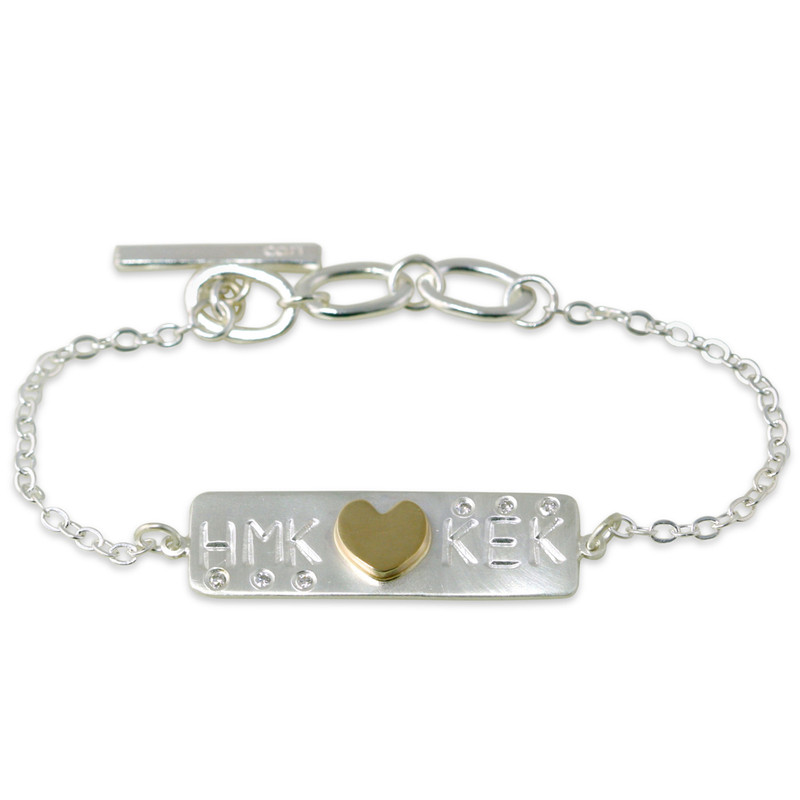 Thin Bar Personalized Tiny Link Bracelet Silver or Gold