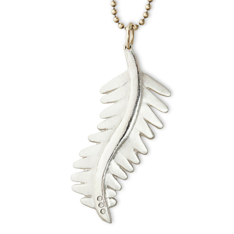 Fern Leaf Pendant Large Silver or Gold with optional diamonds