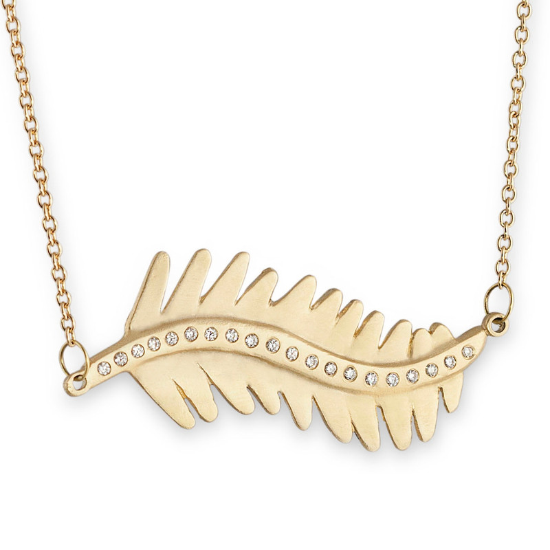 Sideways Linked Large Fern Leaf Necklace Silver or Gold with optional diamonds