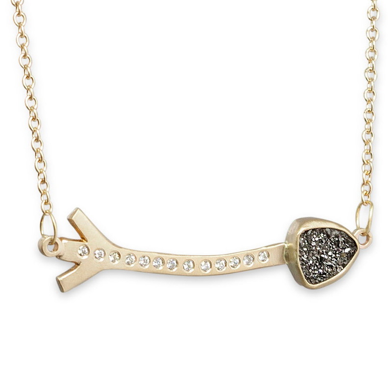 Long Arrow with Black Druzy Tip Linked Necklace Silver or Gold with Optional Diamonds