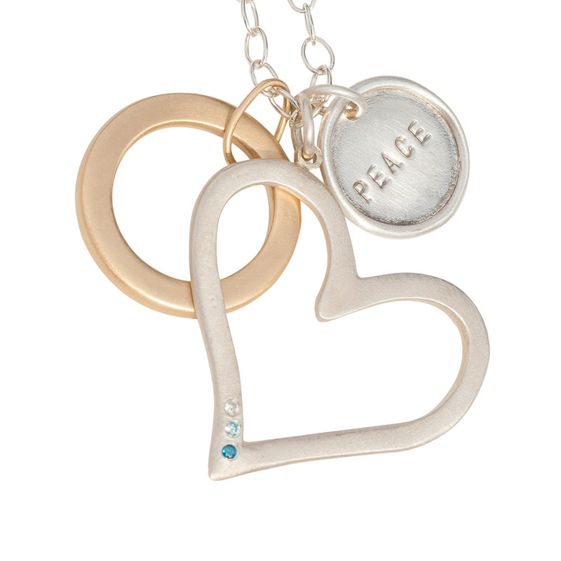 Large Open Heart Pendant Silver or Gold with optional diamonds