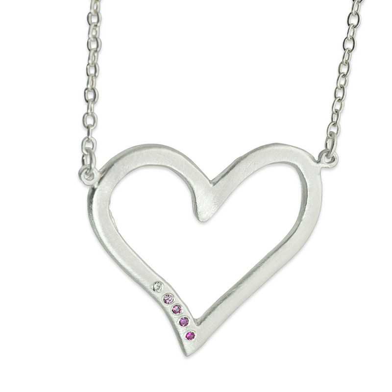 Big Open Heart Linked Necklace Silver or Gold with optional diamonds