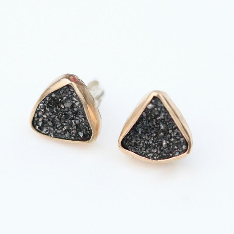14kt Gold Black Druzy Triangle Stud Earrings