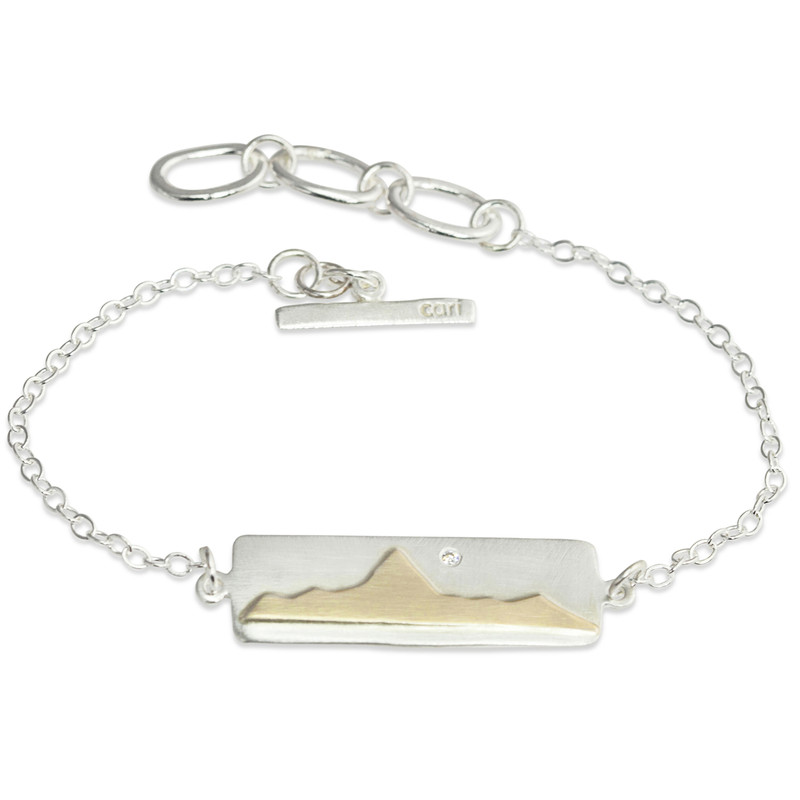 14kt Gold Mountain Range Silver Bar Bracelet with Diamond