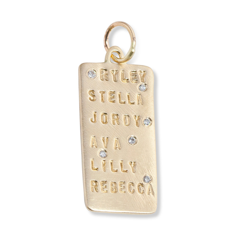 NEW Wide Bar Charm Silver or Gold Personalized