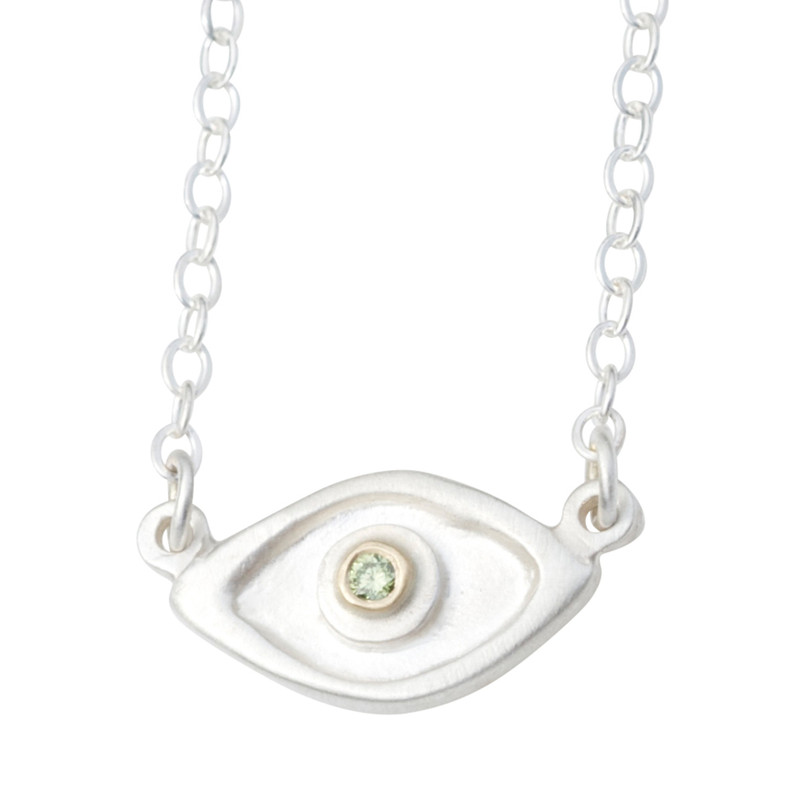 Medium Evil Eye Necklace Silver or Gold with large 2mm diamond