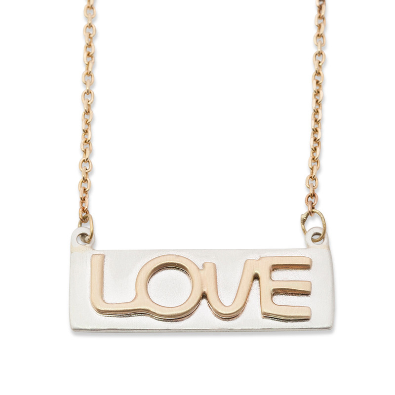 Thin Bar Necklace Silver or Gold with Raised Gold LOVE