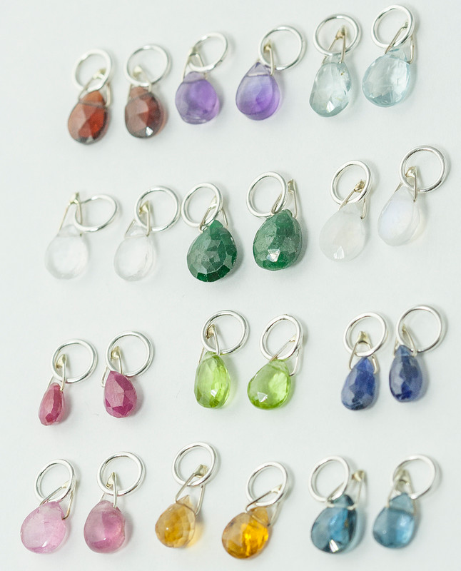 Briolette Birthstone Charms Silver or Gold (sample sale price)