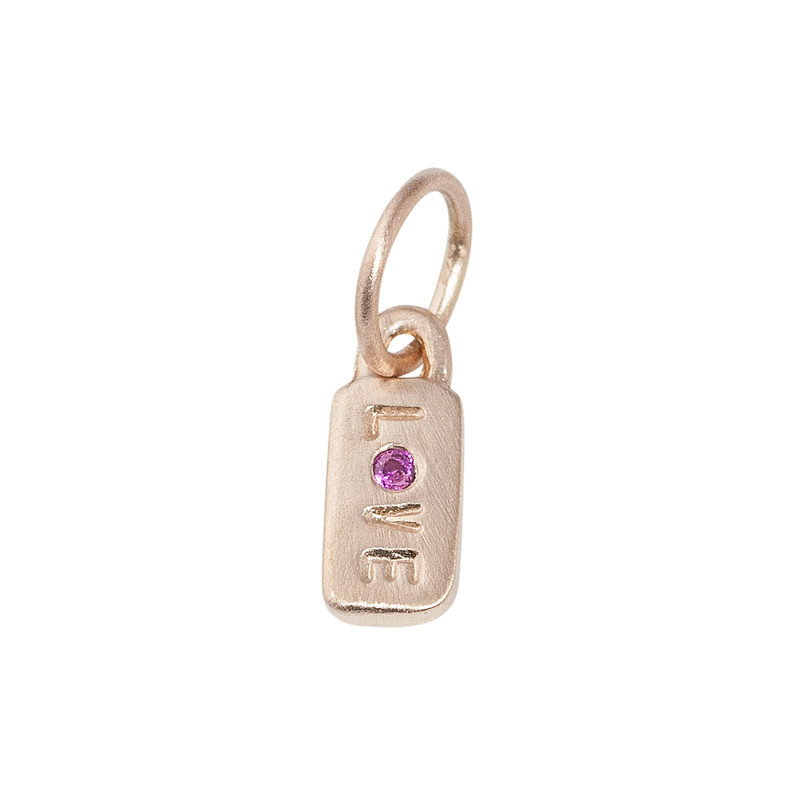 Itty Bitty  Bar Charm 14kt Pink Gold LOVE with a pink sapphire