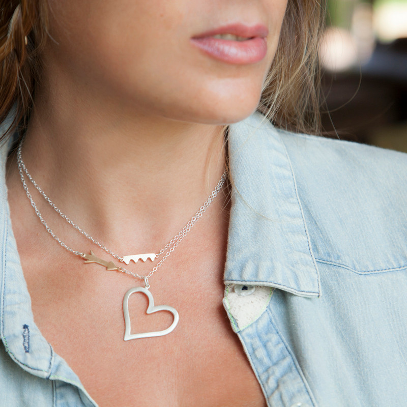Large Open Heart Pendant Silver with 3 diamonds