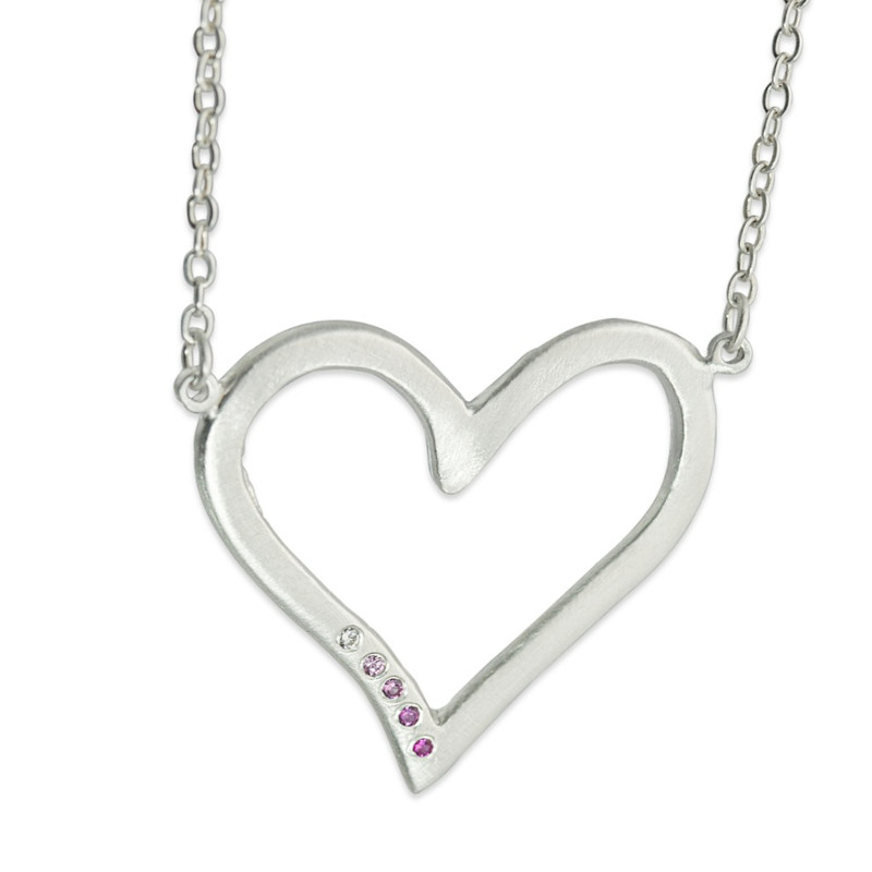 Large Open Heart Silver with 5 Ombré Pink Sapphires linked in silver chain