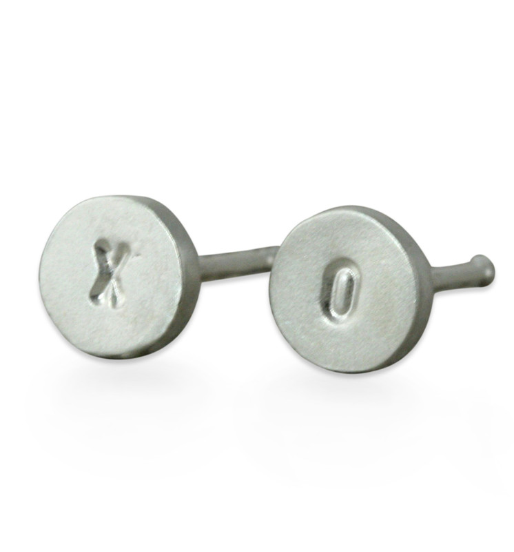 Itty Bitty Disc Stud Earrings Silver X O