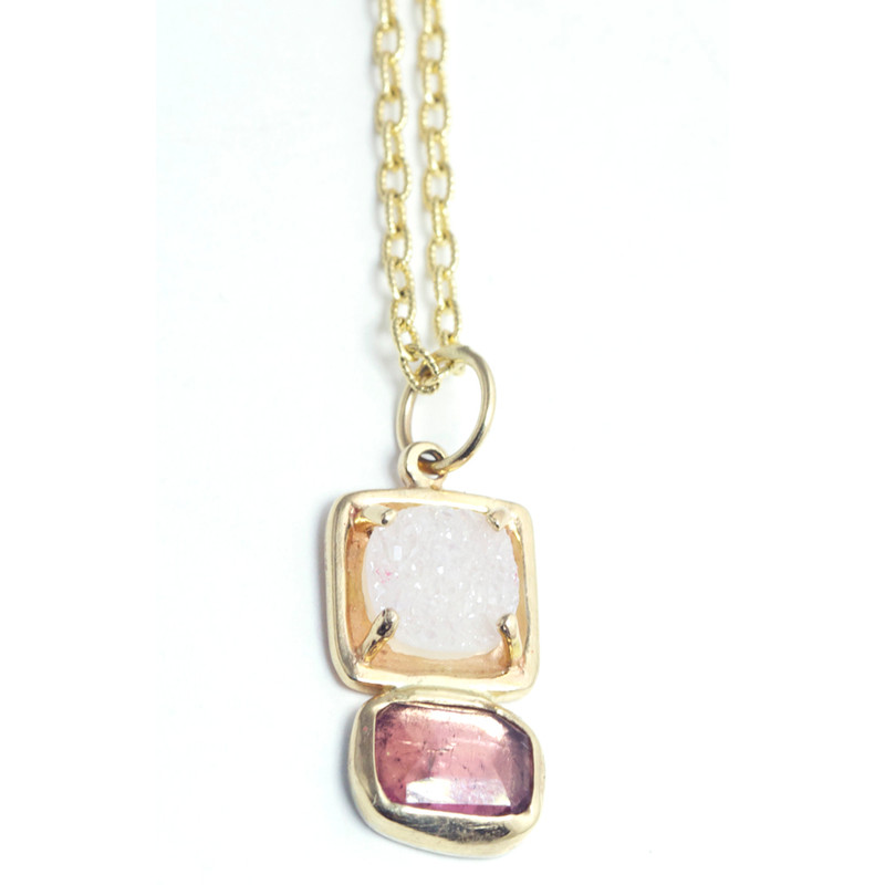 Druzy and Pink tourmaline 14kt Gold GemDrop Necklace One-of-a-kind