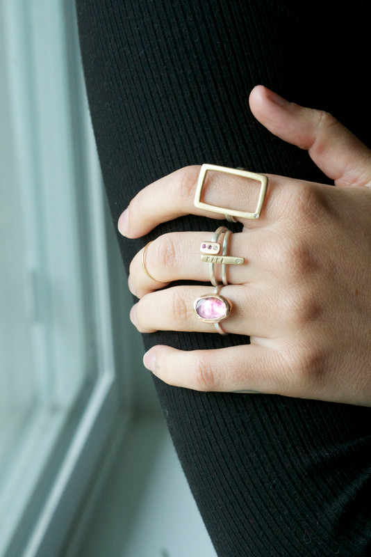 Ombré Diamond Stackable Itty Bitty Bar Ring