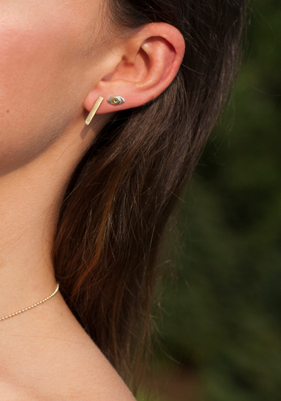 14kt Pink Gold TRUE LOVE Bar Staple Earrings with Pink Sapphires worn as ear climbers or dangles Ready-made