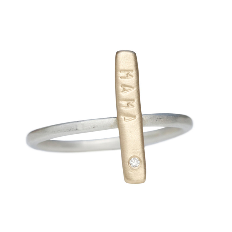 Stackable Skinny Bar Ring silver or 14kt gold personalized