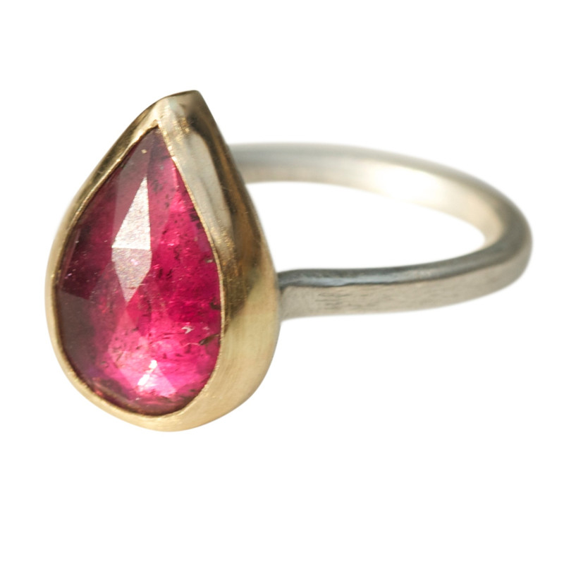 Bright Pink Teardrop Tourmaline Stackable Ring One-of-a-kind