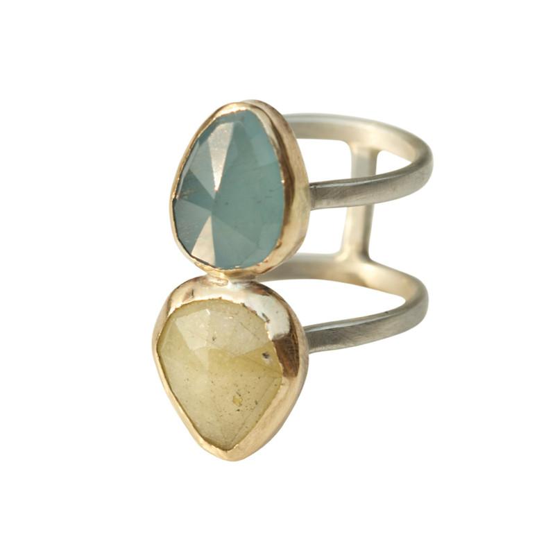 Aquamarine and Linen Sapphire Double Gem Ring