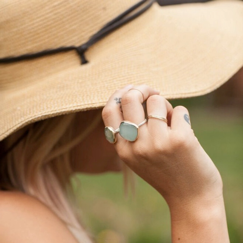 Aquamarine Stackable Cocktail Ring with 'SHINE BRIGHT' and Diamond Detail