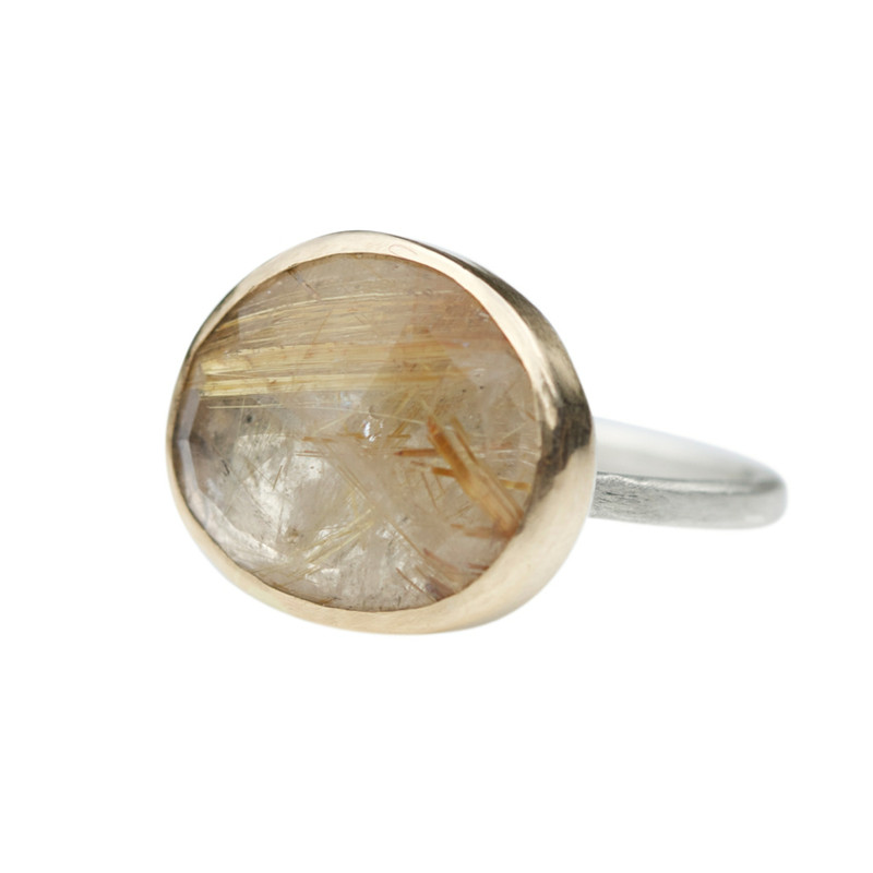 Rutilated Quartz Stackable Cocktail Ring with Diamond 'LOVE' Detail