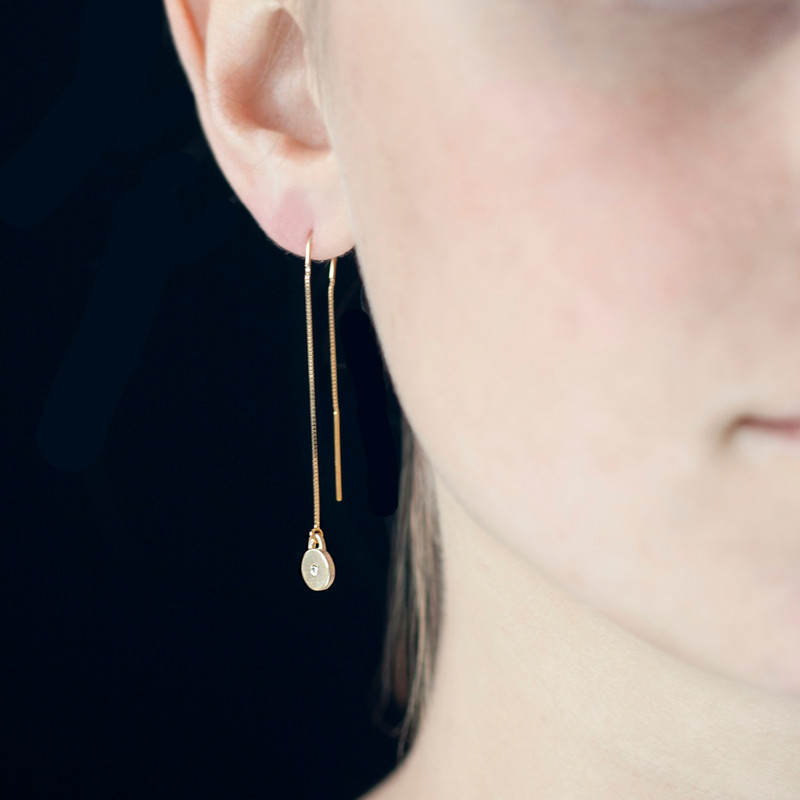 Threader Disc Charm Earrings Silver or Gold