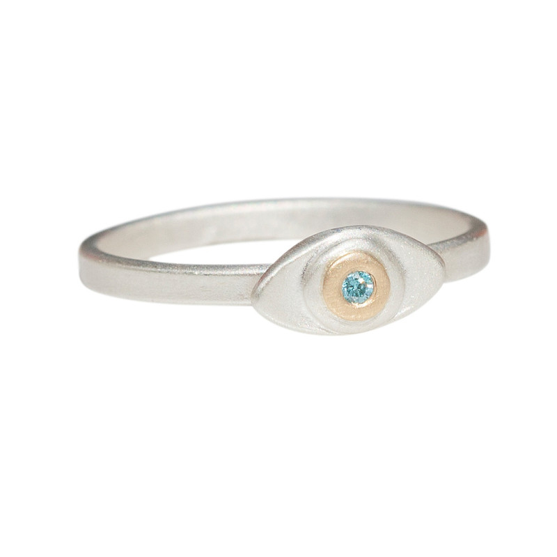 Evil Eye Itty Bitty Ring with Gold dot and diamond