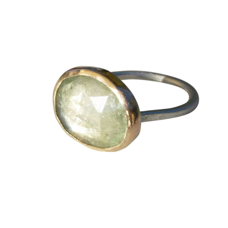 Green Tourmaline Stackable Cocktail Ring with Diamond 'LOVE' Detail