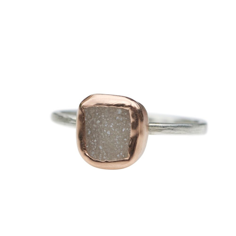 White Druzy Stackable Ring