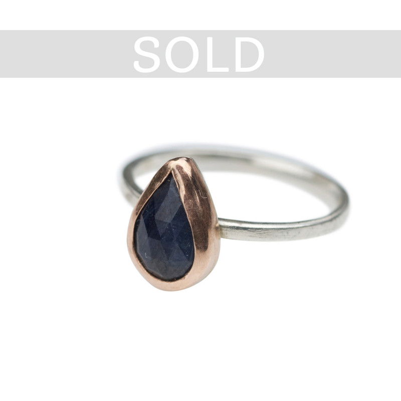 Blue Sapphire Teardrop Stackable Ring