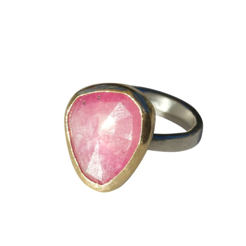 Opaque Pink Sapphire Stackable Cocktail Ring One-of-a-kind