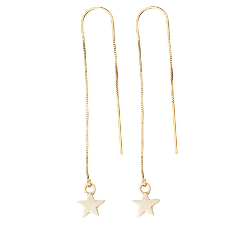 Threader Star Charm Earrings Silver or Gold