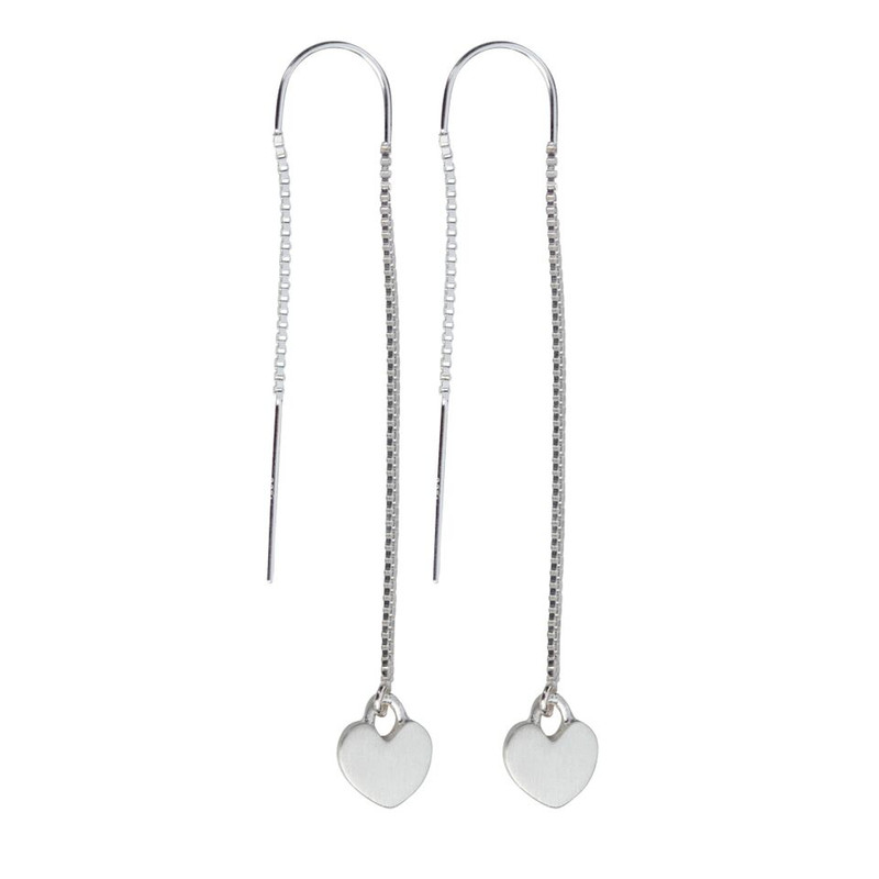 Threader Heart Charm Earrings Silver or Gold