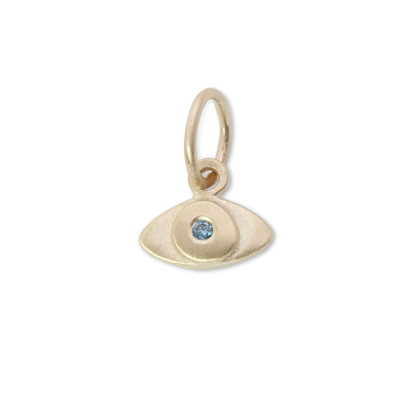 Itty Bitty Protective Eye Charm 14kt yellow Gold with a blue diamond Ready-made