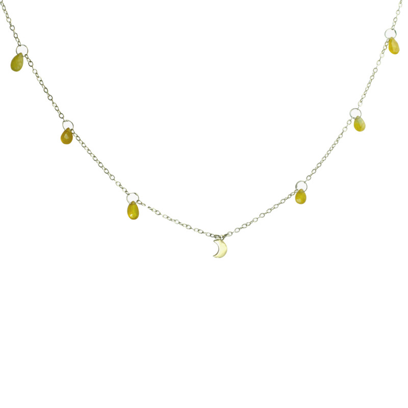 Yellow Sapphire and Gold Moon Dangle Necklace