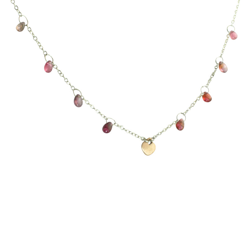 Pink Tourmaline and Gold Heart Dangle Necklace