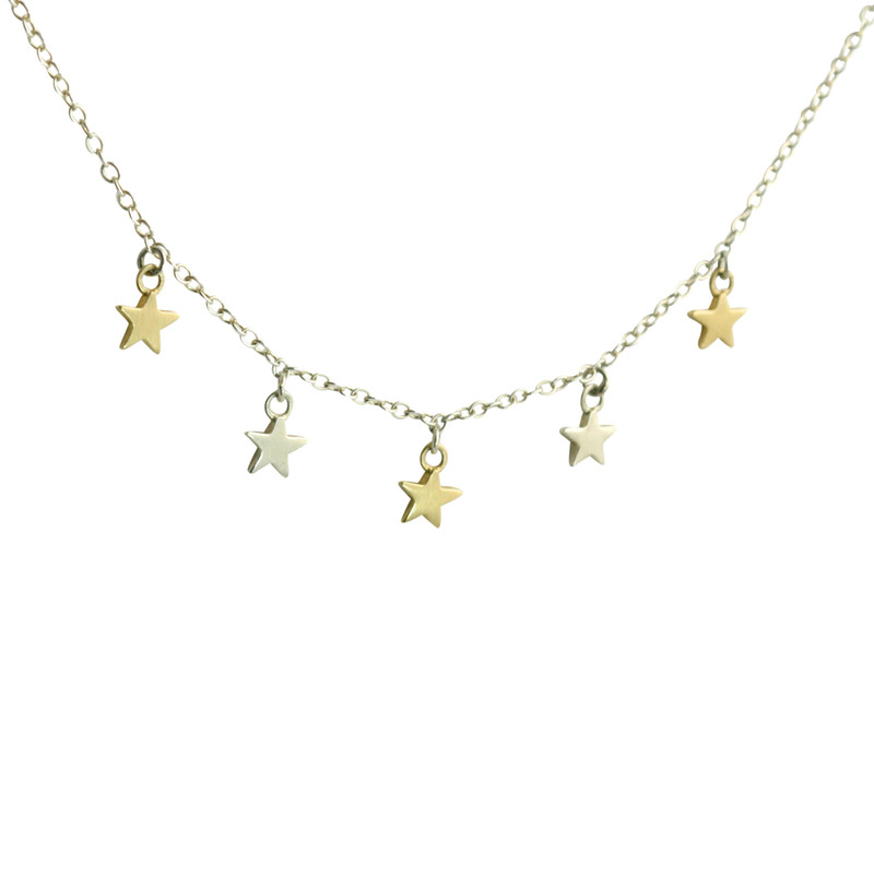 14kt Yellow Gold and Silver Star Dangle Necklace