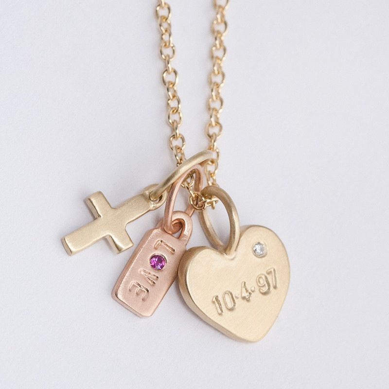 Small Flat Heart Charm 14kt Gold with a Diamond
