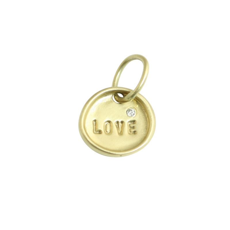Tiny Disc Charm 14kt Yellow Gold LOVE with a diamond