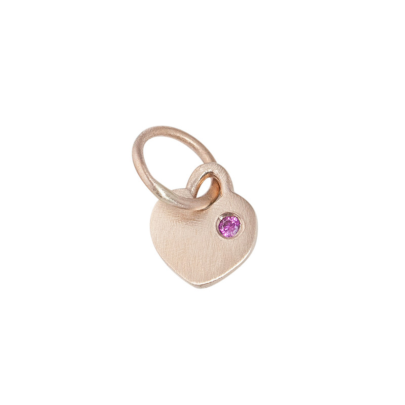 Itty Bitty Heart Charm 14kt Pink Gold with Pink Sapphire
