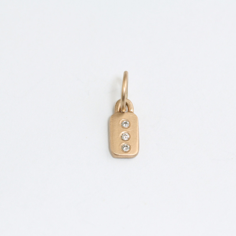 Itty Bitty Bar 14kt Pink Gold with 3 Diamonds