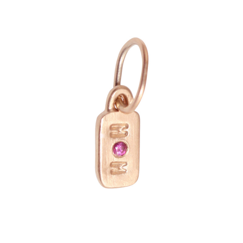 Itty Bitty Bar 14kt Pink Gold MOM with Pink Sapphire