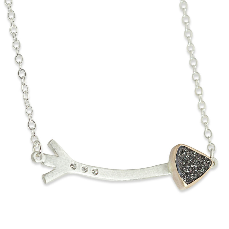 Long Arrow with Black Druzy Tip Linked Necklace Silver and 14kt gold with diamonds