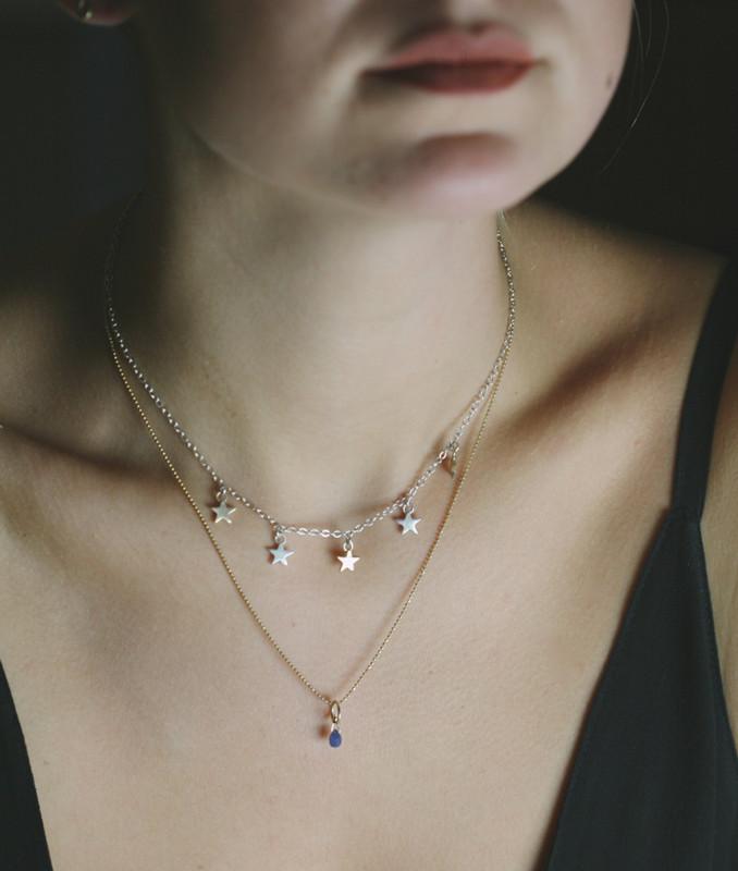 Silver Star Dangle Necklace (sample sale)