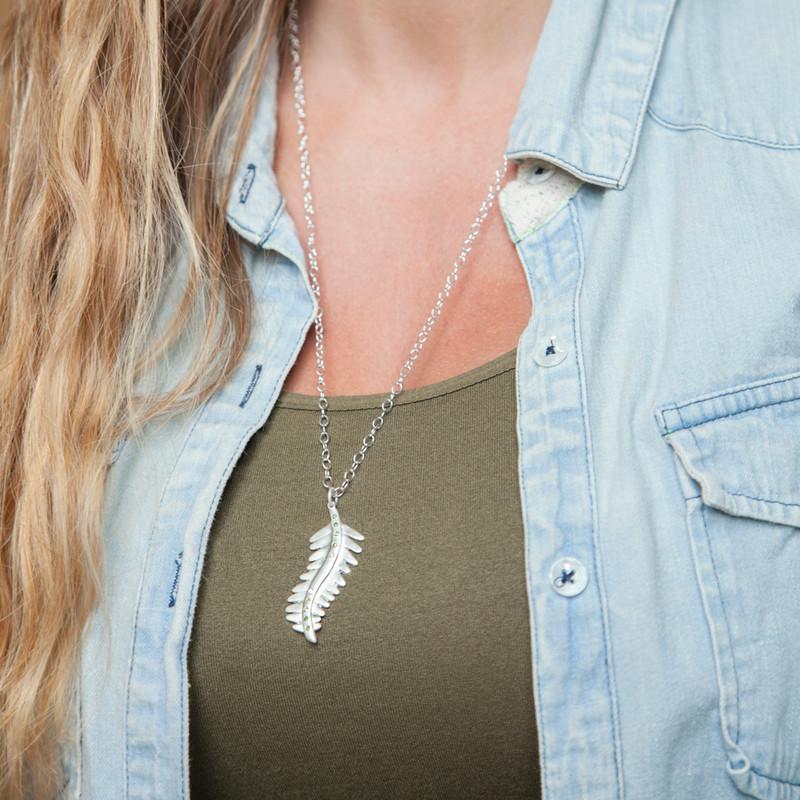 Fern Leaf Pendant Large Silver with 3 diamonds