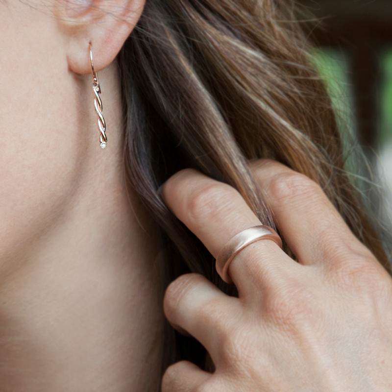 14kt pink gold Twisted Bar Dangle Earrings with diamond accents
