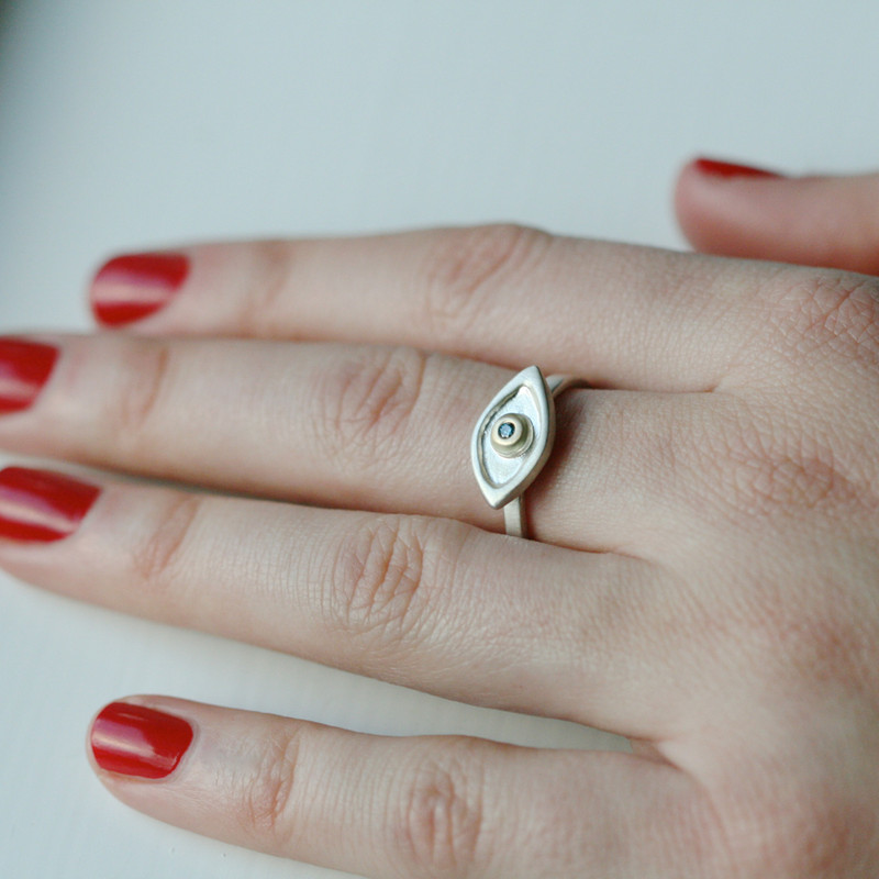 Medium Evil Eye Ring with Gold center and Blue Diamond