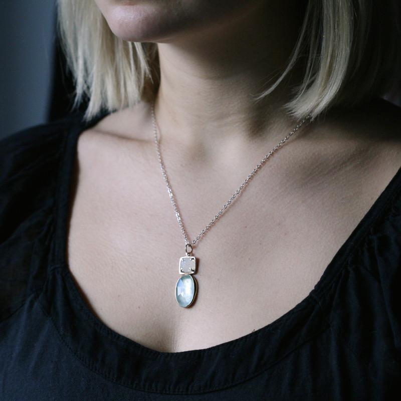 GemDrop Aquamarine and Druzy Necklace One-of-a-Kind