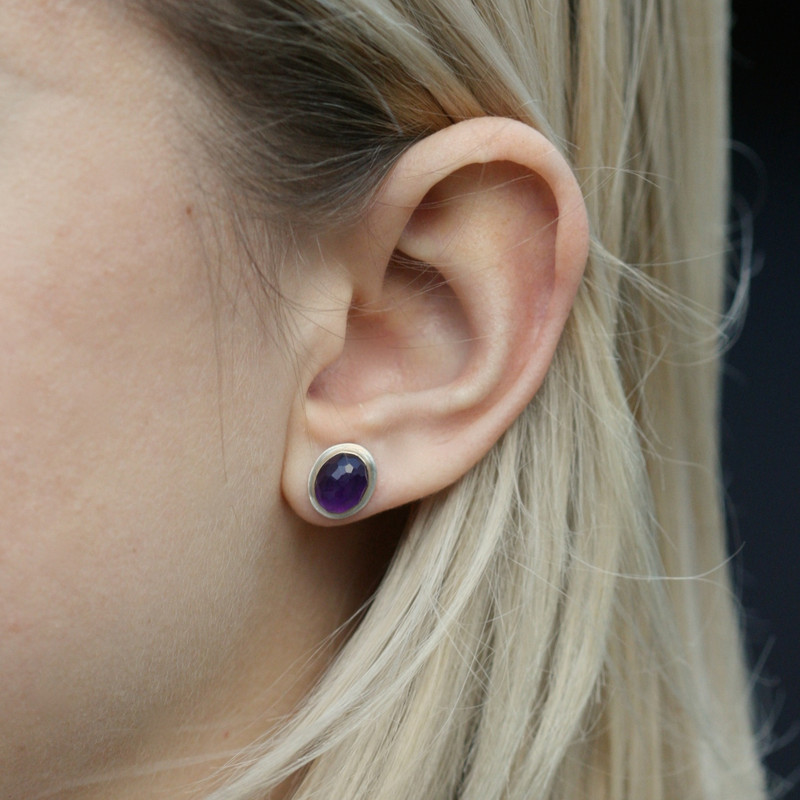Amethyst 14kt Gold and Silver Stud Earrings